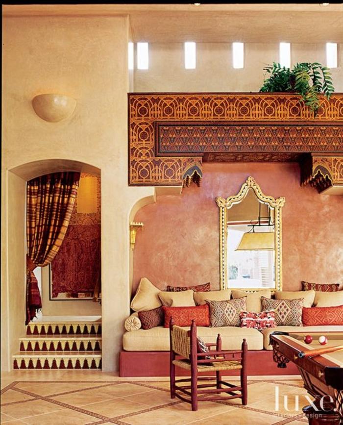 marokkaische lampen bunte farben im orientalischen haus interieur design ideen orange braun rot erdtöne exotisch