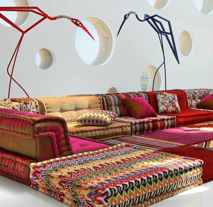 marokkanische lampen dekorative storchen ideen buntheit buntes zuhause möbel muster sofa kissen deko wand idee