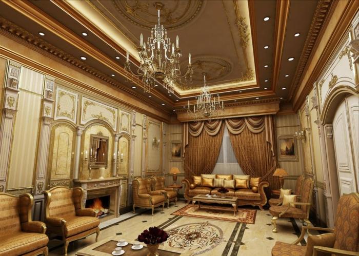 orientalische deko luxuriöse gestaltung des wohnzimmers goldene farbe sessel spiegel teppich vorhände dekor