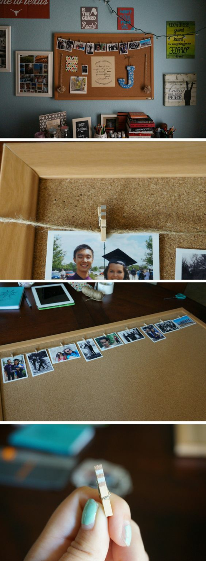pinnwand mit fotos dekorieren, fotowand, wanddeko selber machen