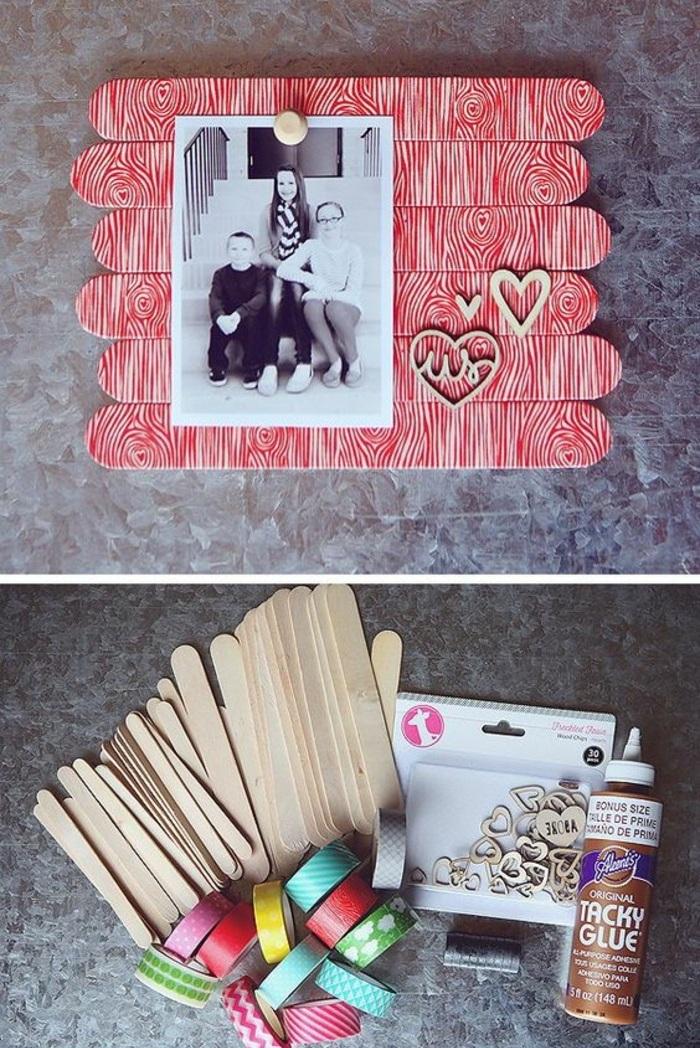 memoboard selber machen, mini-pinnwand aus holzstäbchen dekoriert mit washi tapes