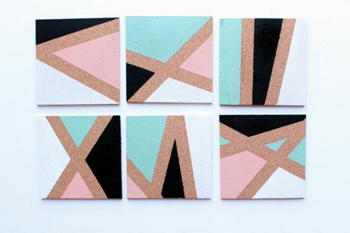 memoboard selber machen, eckige pinnwände mit geometrischen figuren