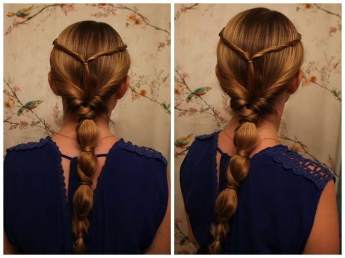blaues Kleid und kompliziert geflechtete Frisur von rotem Haar Frisuren Mittelalter