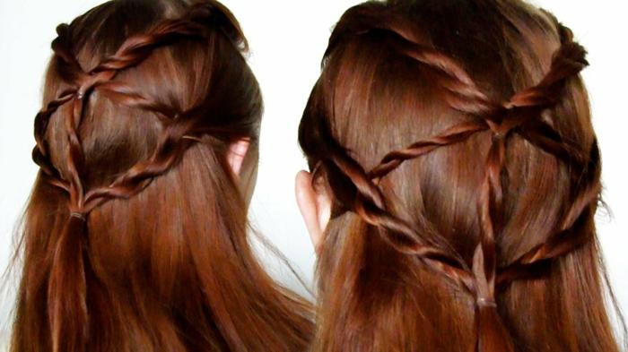 seitlich geflochten rote Haare wie eine echte Netz von Haar, von zwei Ecken