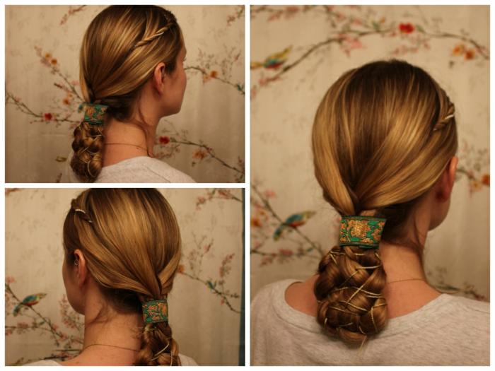 eine Netz mit dem Haar geflochten blondes Haar, grünes Band - Frisuren Mittelalter