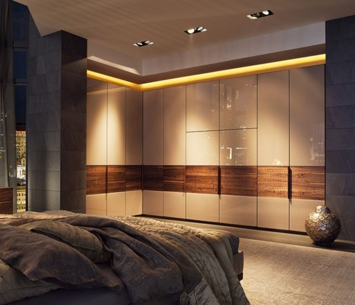 Led Beleuchtung Schlafzimmer mit Wandgarderobe Kleiderschrank Ideen