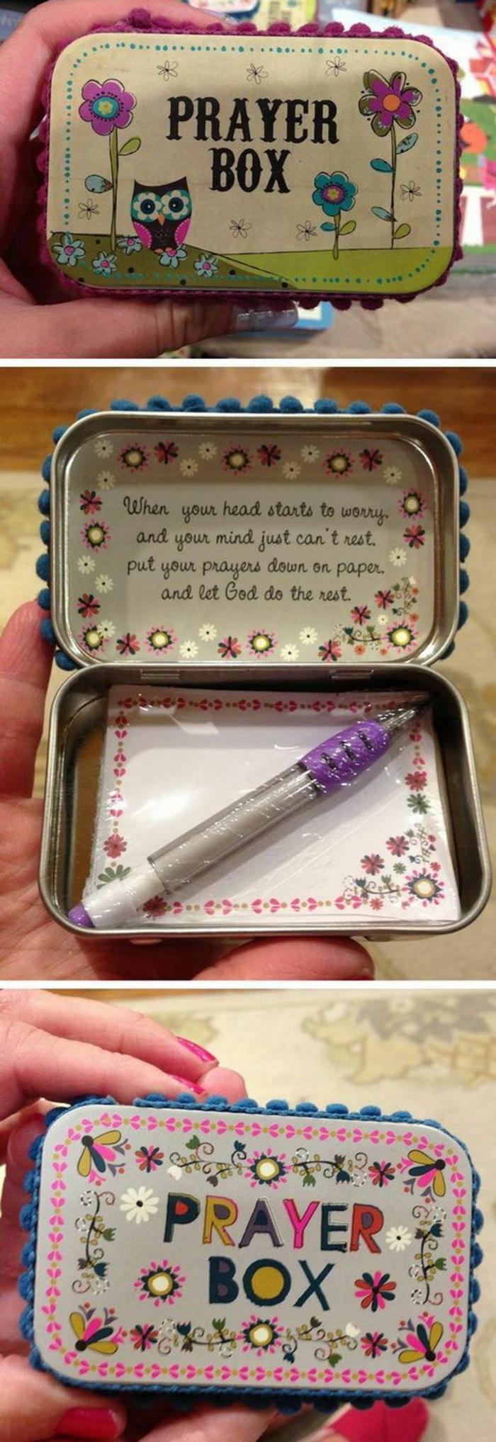 schön dekorierte Schachtel mit kleinen Zettel und Kugelschreiber - Geschenk zum Muttertag