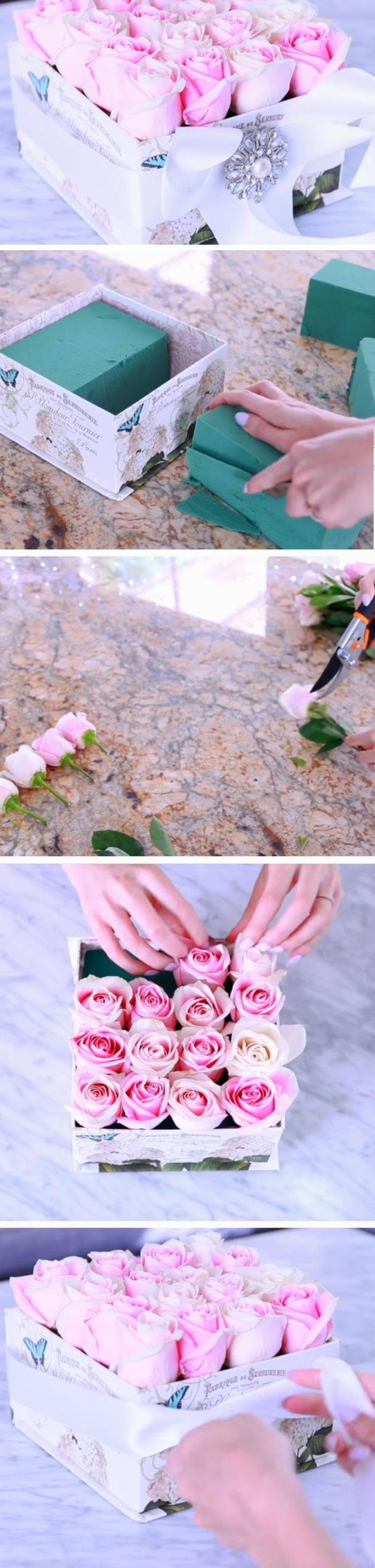 wie die Blumen zu ordnen in einer Schachtel - Muttertags Geschenkideen
