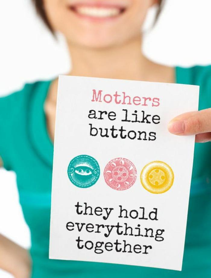 Mutter sind wie Knöpfe, die alles zusammenhalten steht auf die Karte - Muttertags Geschenkideen