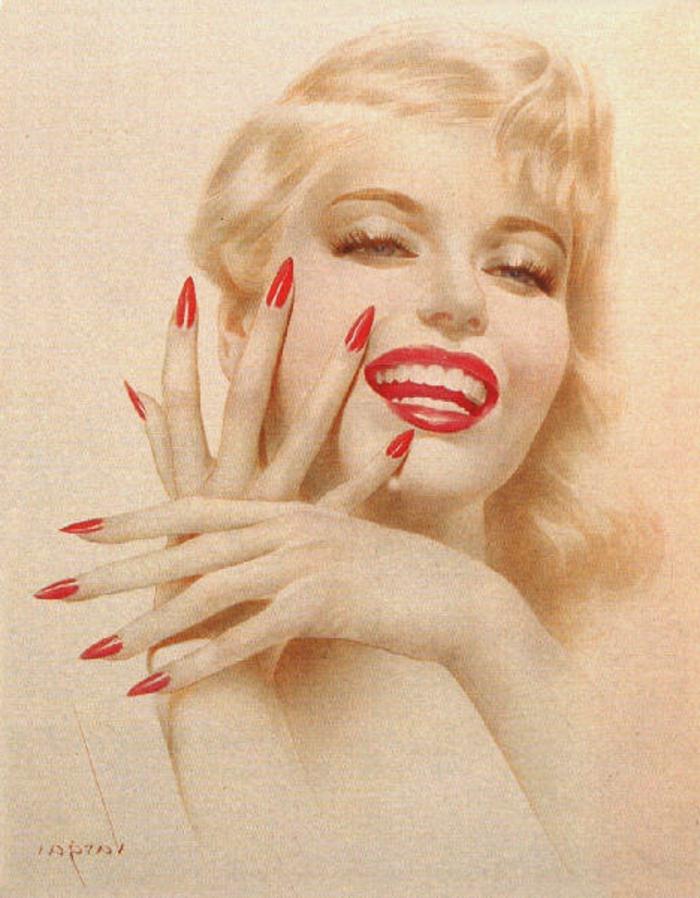 rote lange spitze nägel gehören unmittelbar zur pin up epoche ideen zum gestalten marilyn monroe