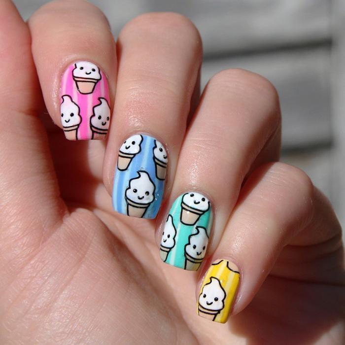 buntes Nageldesign, Eiscreme als Dekoration, jeder Nagel in verschiedener Farbe