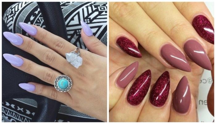 spitze fingernägel design ideen rote nagellack ideen lila eine nagellack farbe aber auffällig schöne ringe