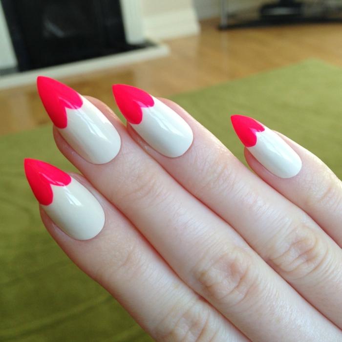 nägel mandelform ideen rote herzchen spitze nägel designs weiße maniküre mit dekorationen herz