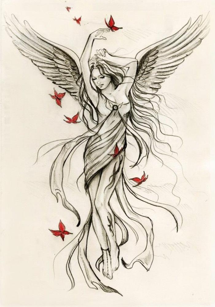 hier finden sie noch eine idee für engelsflügel tattoo für frauen - hier ist ein tanzender engel mit weißen flügeln mit langen federn und schmetterlingen