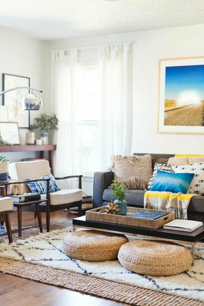 marokkanische lampen im modernen westlichen zuhause dekorationen ideen sitzkissen wandbild sahara exotische deko