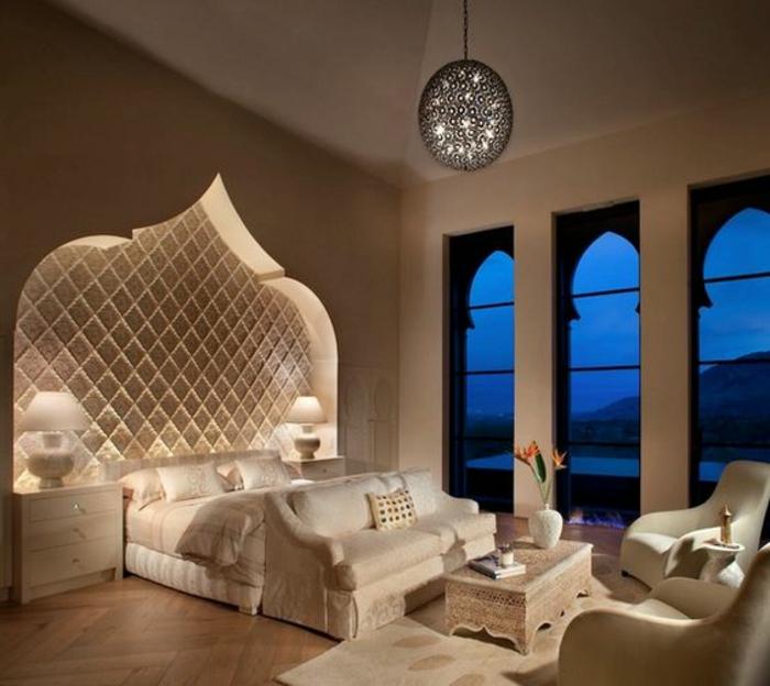 orientalische stoffe große fenster lampen bett design weises schlafzimmer lampen luxusdesign traumhaft