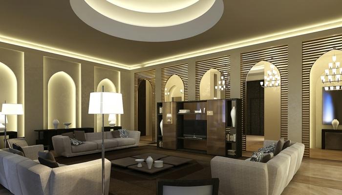 deko orientalisch großer raum lampen sofas tisch regal schrank großes wohnzimmer ideen für beleuchtung