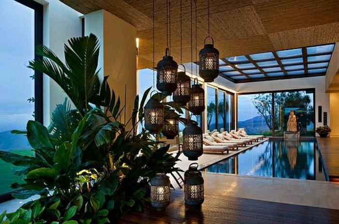 arabische möbel tolles flair im eigenen garten dekoideen mit pflanzen und laternen lampe hängend schwimmpool