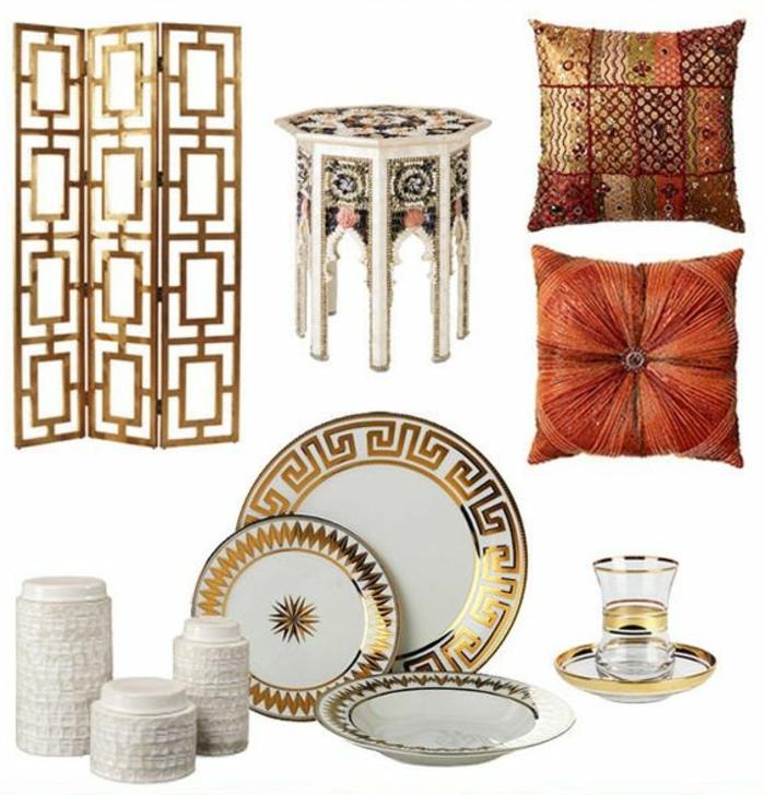 orientalische möbel werden von der dekoration ergänzr teller raumteiler golden bunte kissen teetasese geschirr