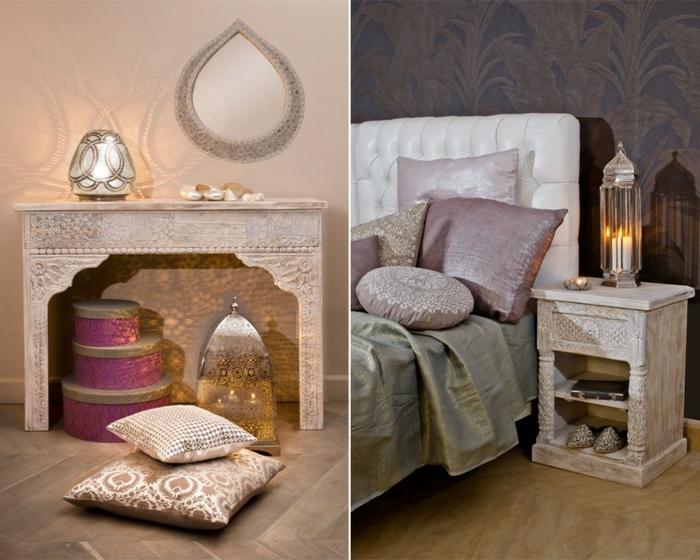 orientalisches zimmer gestalten die nötigen dekorationen kissen mit print muster laterne kerzen spiegel