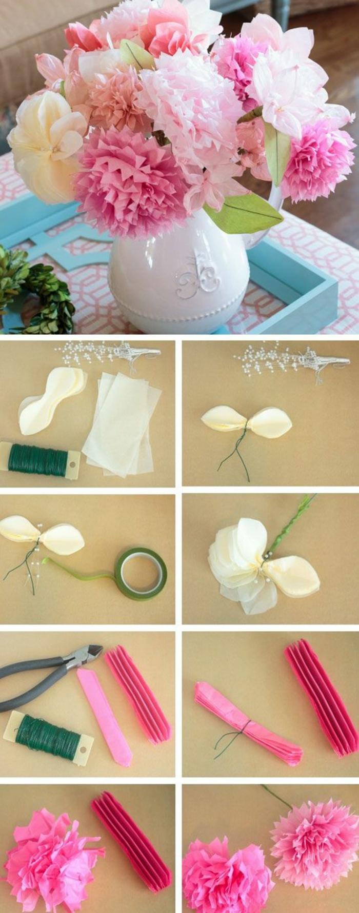 vase, rosa blumen aus krepppapier, drahtzange, draht, diy