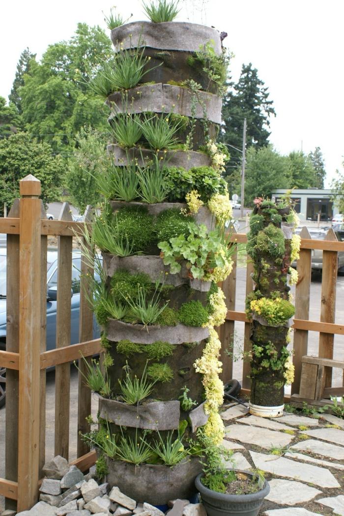 ein runder vertikaler Garten mit verschiedene Pflanzensorten - Gartenbeete gestalten