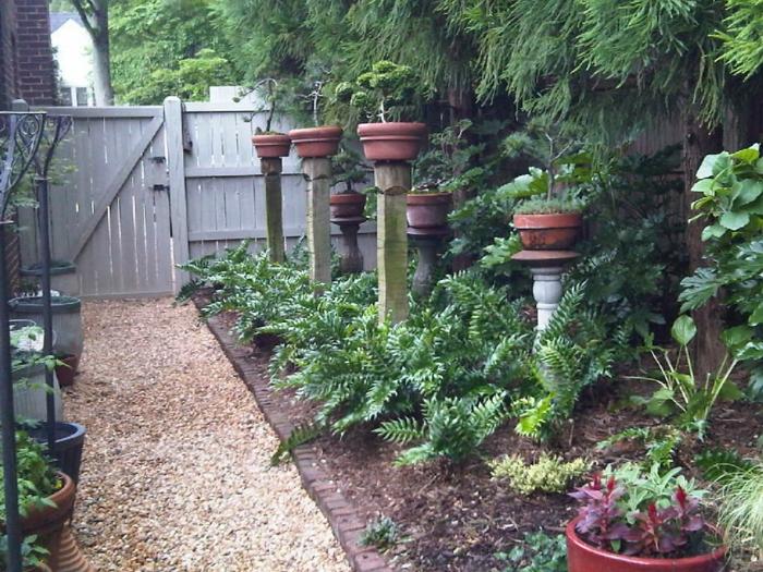 sechs Blumentöpfe auf Säulen gestellt voller Bonsai Bäumen - Vorgarten pflegeleicht gestalten