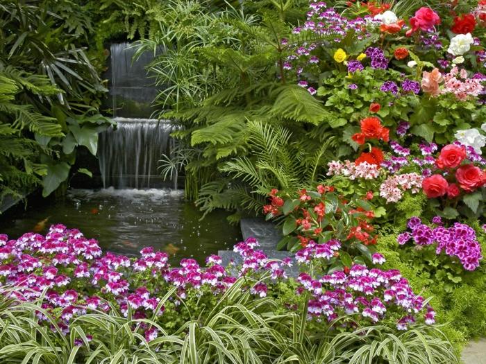 ein Wasserfall im Garten führt zu einem Teich voller großen Fischen - Gartengestaltung pflegeleicht