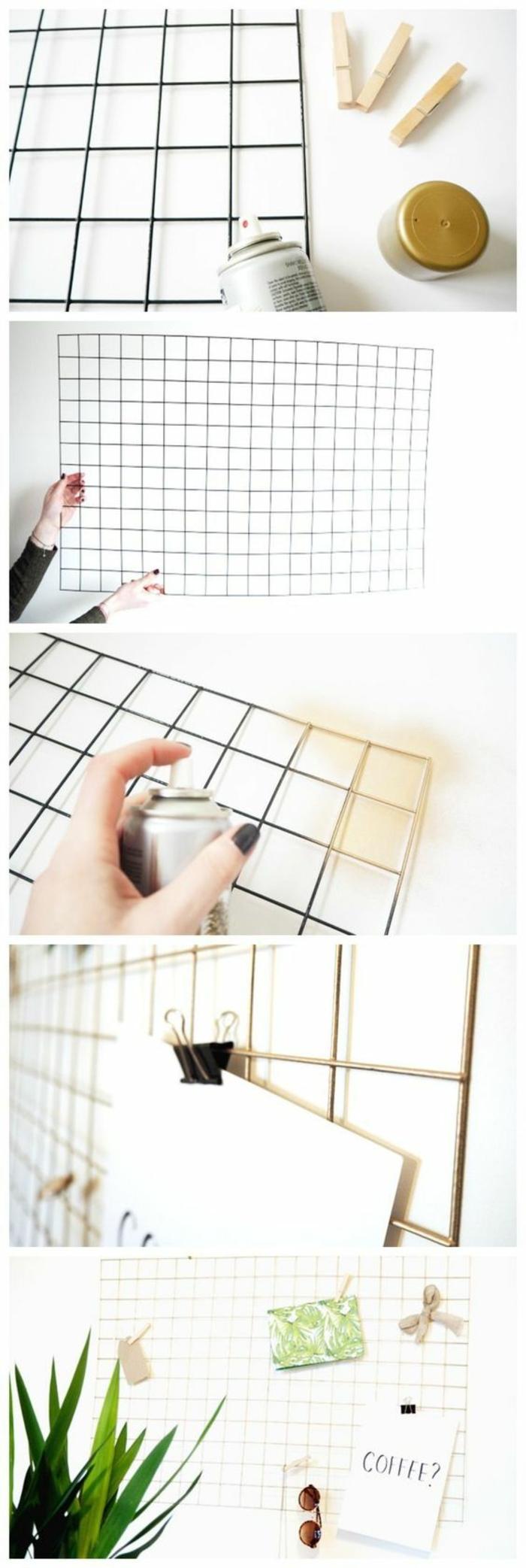 memoboard selber machen, draht mit sprayfarbe streichen, papierklemmen