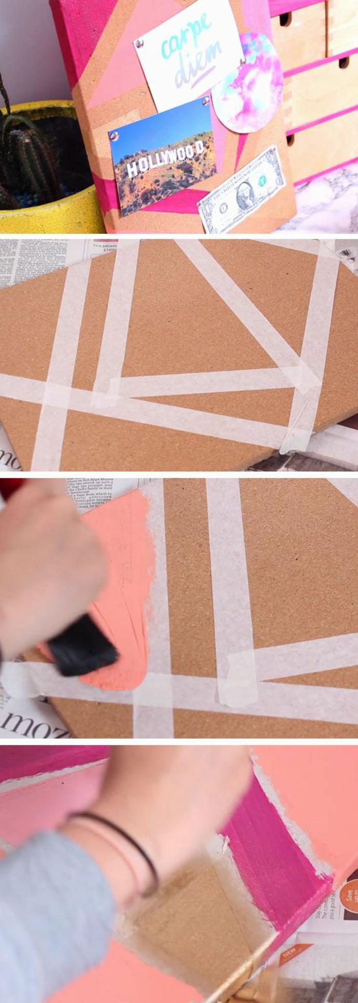 pinnwand färben, klebeband, farbpinsel, bilder, geld, zettel