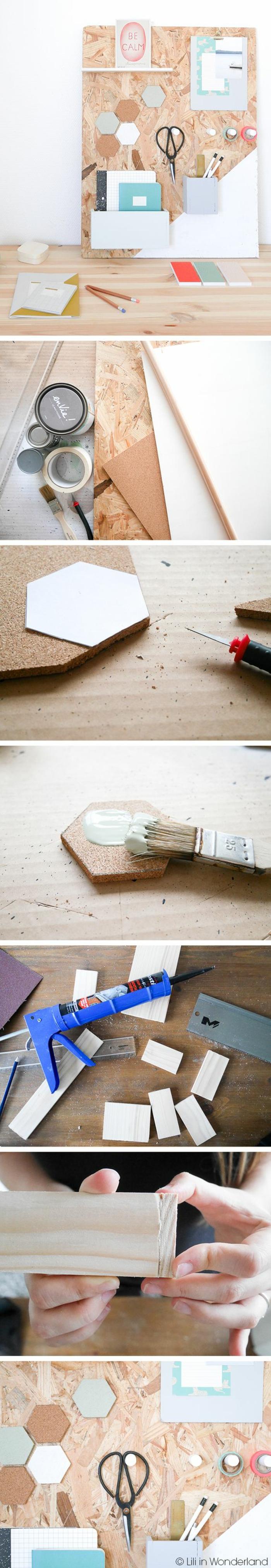 diy pinnwand aus holz, hefte, stifthalter, farbpinsel