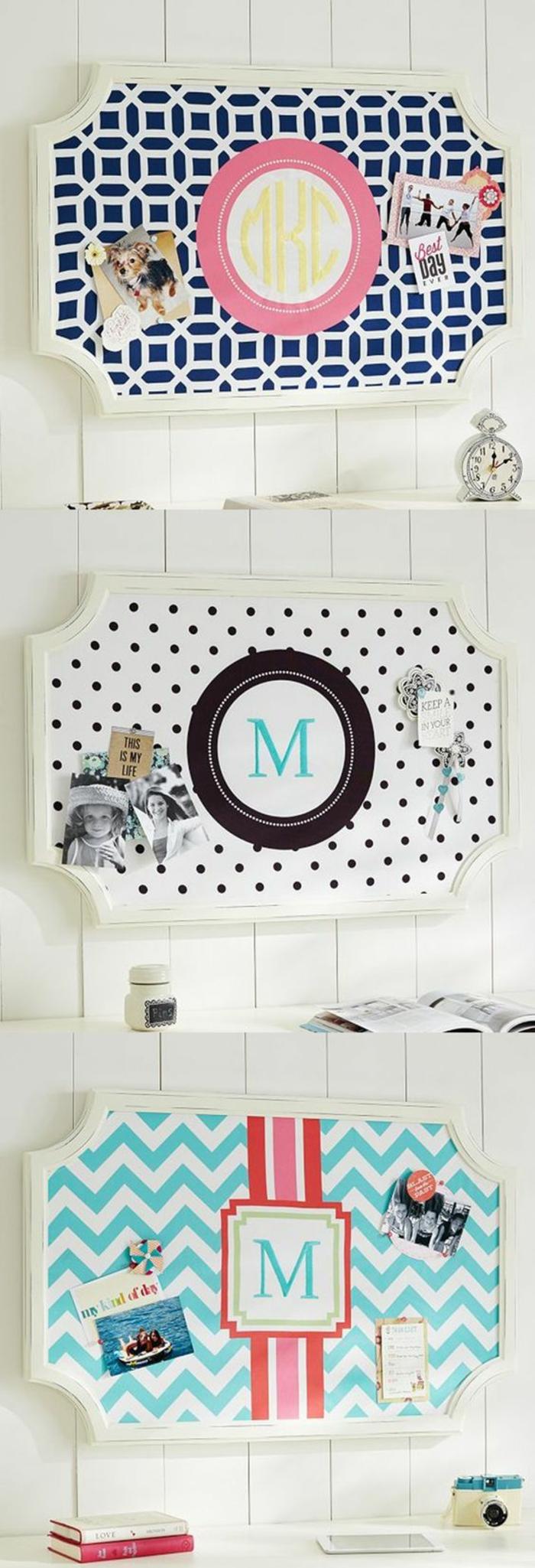 diy pinnwand mit weißem rahmen und monogram, wanddeko