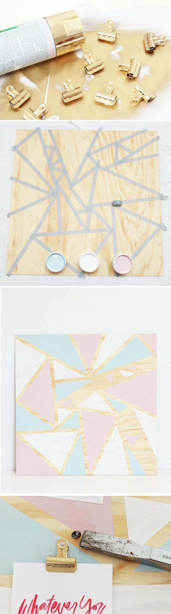 pinnwand selber machen, holzplatte, washi tape, acrylfarbe, goldenes spray