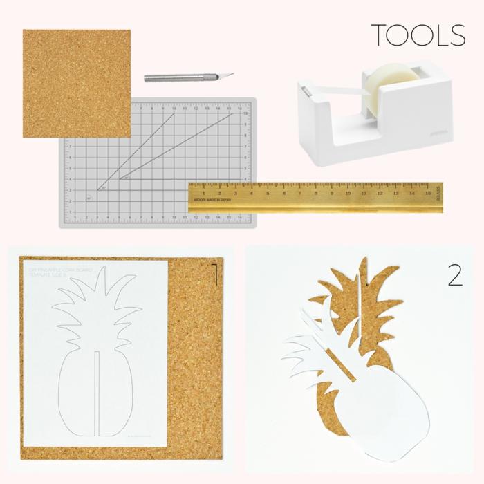mamoboard in form von ananas bauen, materialien, x-acto messer, korkplatte, tesafilm