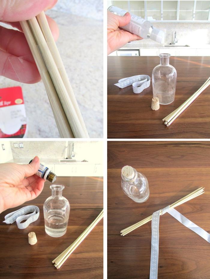 duftdiffusor selbst herstellen, glasflasche, ätherisches öl, bambusstäbchen
