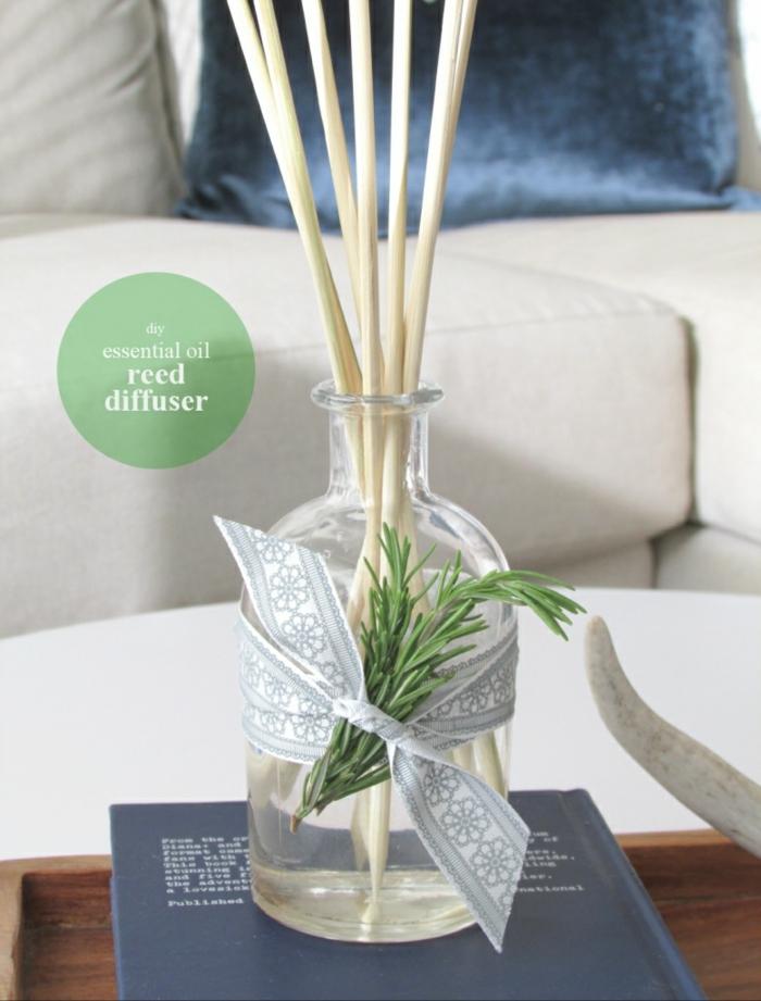duftdiffusor mit ätherischen ölen selber machen, glasflsche, bambusstäbchen