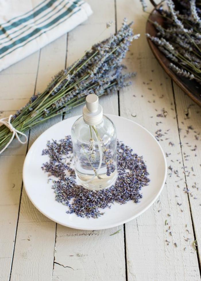 raumspray selber machen, weißer teller, lavendel, duftspray mit lavendelöl