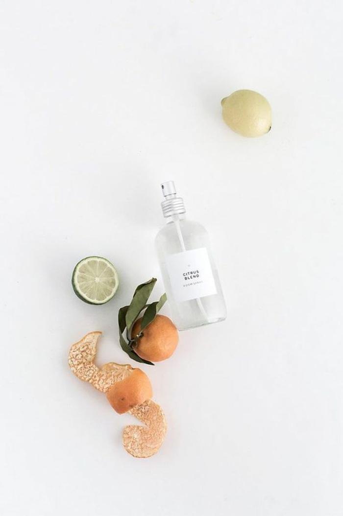 raumspray selber machen, zitrone, limette, orangenschale, spray