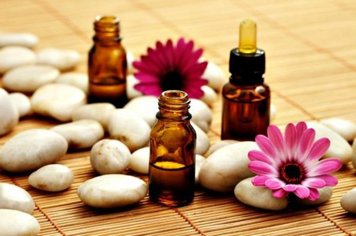 steinchen, blumen, ätherische öle, ethärisches öl, diy, aromatherapie