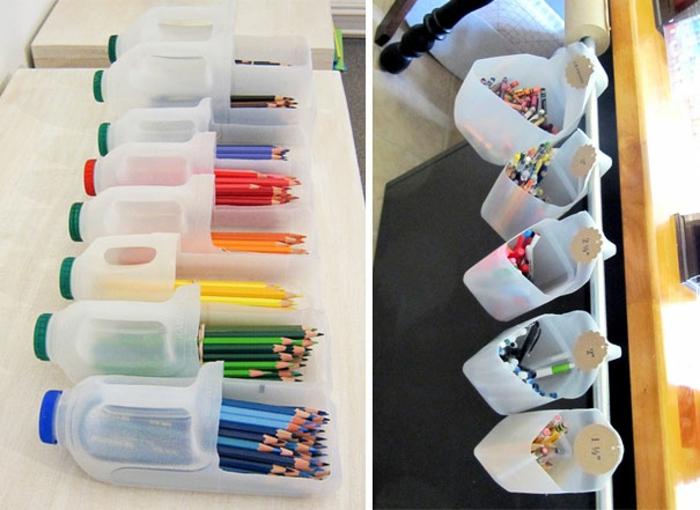upcycling flaschen, bunte bleistifte, stiftenhalter selber machen