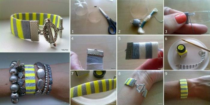 upcycling flaschen, armband aus plastik und faden, armreifen