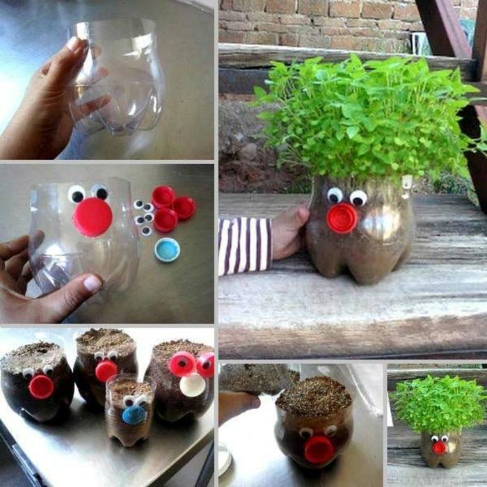 upcycling flaschen, diy blumentöpfe aus plastik, pflanzen