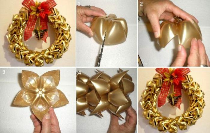 weihnachtsdeko, deko mit flaschen, goldener kranz, türkranz, weihnachtskranz mit roter schleife