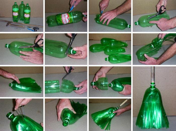 recycling basteln, besen aus grüner fl<sche anfertigen, schere, cutter
