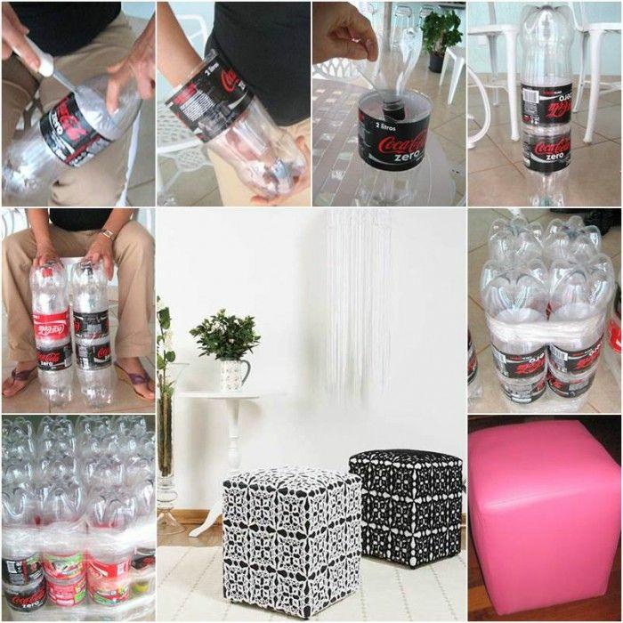 diy hoker aus flaschen anfertigen, plastikflschen aneinanderkleben, weißer tisch