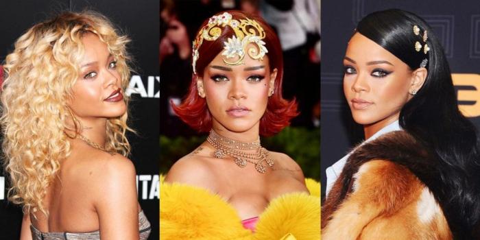 drei der besten Rihanna Frisuren mit exklusiven Bekleidung - blond, schwarz und rot