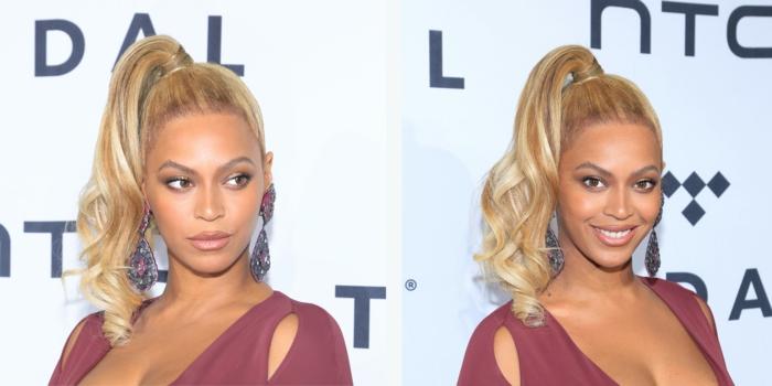 Beyonce mit einer einfachen Abendfrisur, Pferdeschwanz mit großen Locken am Ende