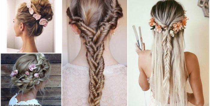schöne Flechtfrisuren für lange Haare mit und ohne Haarschmuck, hochgesteckt oder frei fallend