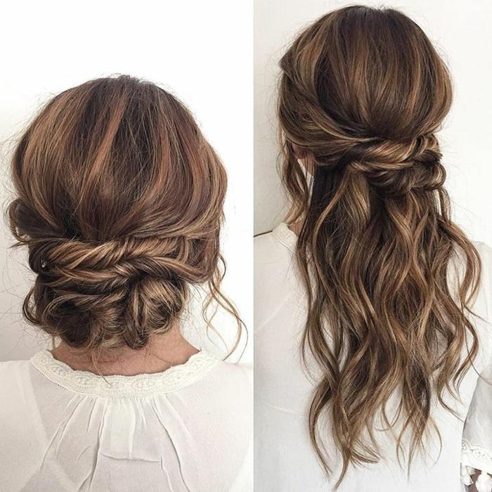 Wasserfall-Frisur für lange Haare, die restlichen Haare sind hochgesteckt, lässige Steckfrisur