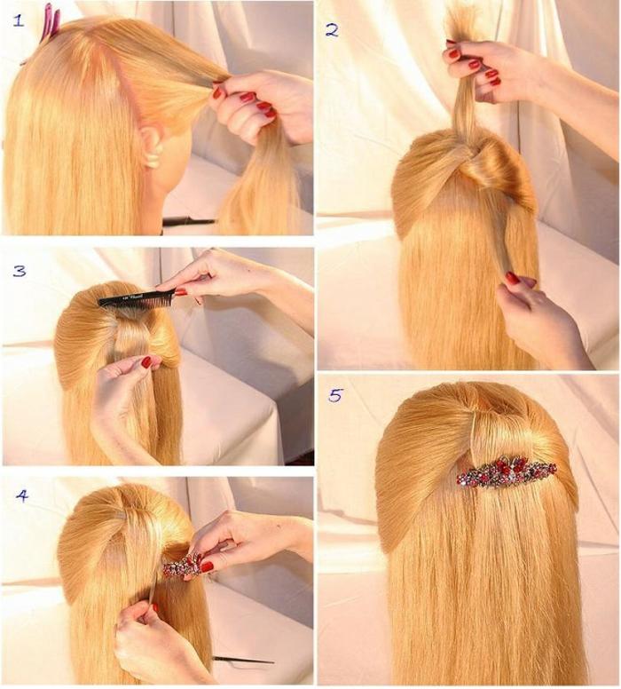 Abendfrisuren Schritt-für-Schritt Anleitung für lange Haare, Steckfrisur mit Haarspange mit roten Kristallen